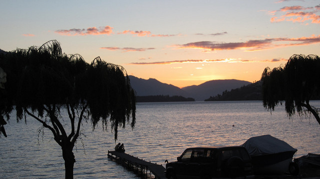 Sunset view from our Queenstown rental cottage