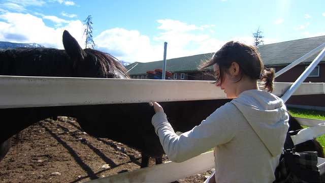 Corene saying hello to horse