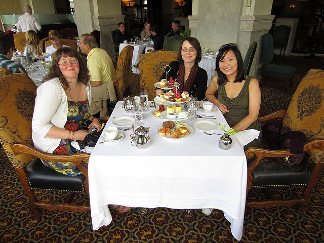 Kim, Corene, me, having afternoon tea