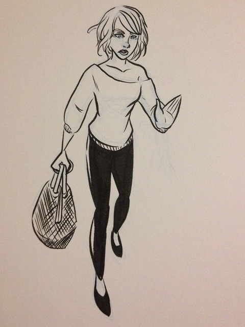 Sweater-girl flats doodle